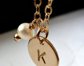 Initial Birthstone Disc Necklace - Pearl - 14K Goldfilled