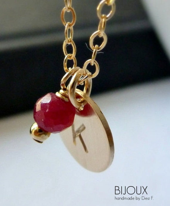 Initial Birthstone Disc Necklace - July Ruby Birthstone- 14K Goldfilled