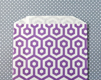 Purple Honeycomb Goody Bags / Favor Bags / Treat Bags (20) - 5 x 7.5 inches