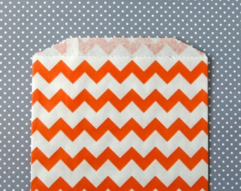 Orange Chevron Goody Bags / Favor Bags / Treat Bags (20) - 5 x 7.5 inches - Midi Size