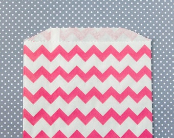 Pink Chevron Goody Bags / Favor Bags / Treat Bags (20) - 5 x 7.5 inches - Midi Size