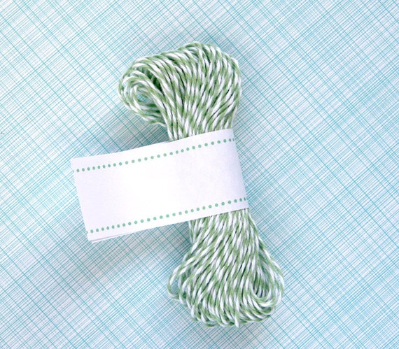 Seaweed Green Bakers Twine - Light Green and White Striped Twine (15 yards)