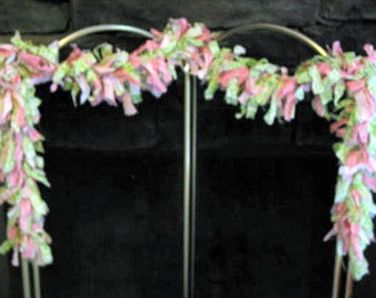 Torn Fabric Preppy Pink and Green Garland