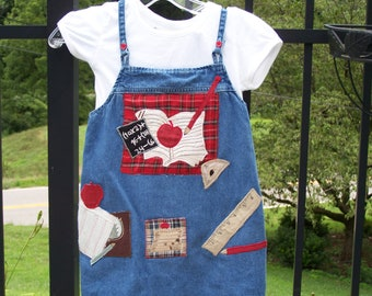 Back to School Upcycled Jumper  5T  Ready to ship.