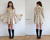 Hand Painted Silk Dress - Off White & Multicolored Babydoll Dress - Silk Crepe Baby Doll Shirt Dress - Made to Order Couture