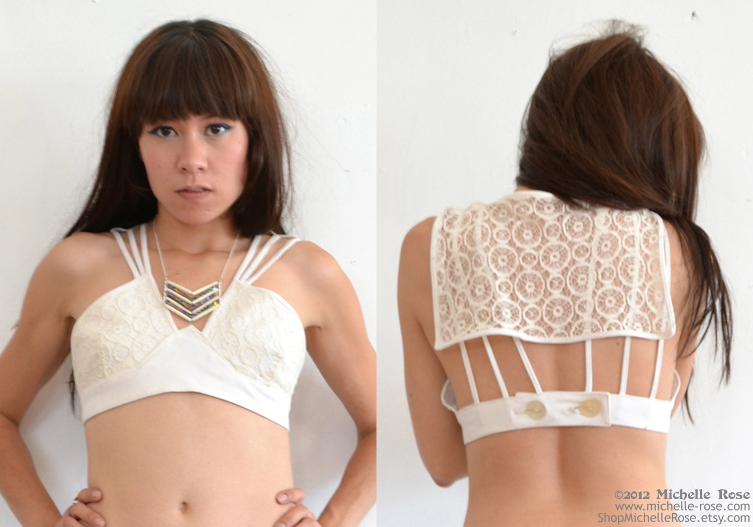 White Lace Crop Top - Crochet Bikini Top - Playful Caped Lace Bra Top - Sexy ...