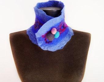 blue collar scarf, eco friendly collar scarf, statement collar, spring fashion