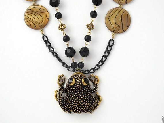 Toad Frog Necklace Long Black and Gold  .