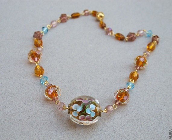 Purple and amber necklace, lampwork beads