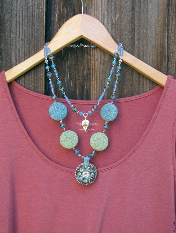 Summer Breeze Hope multistrand necklace,  aqua, blue and light green