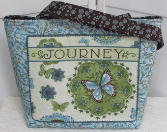 Blue and Brown Butterfly Large Tote Bag Ready To Ship