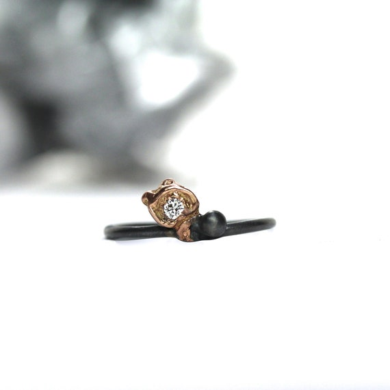 RESERVED FOR Zoë - Silver Rose Gold Diamond Rosebud Ring - Rosenknospe