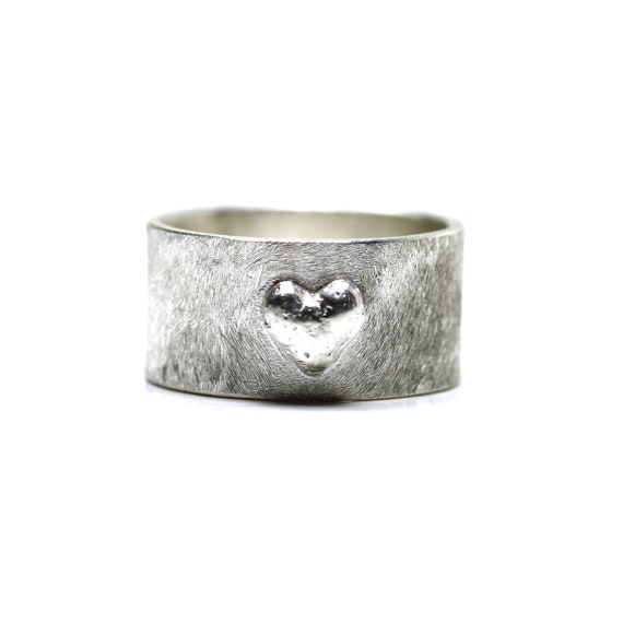 Heart Imprint Ring 3D Wide Sterling Silver Love Wedding - Heartprint
