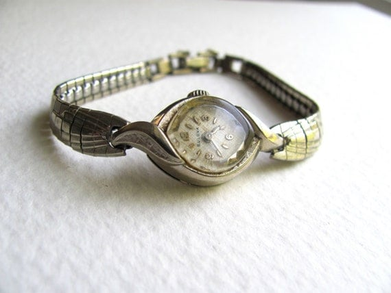 Antique womens Bulova watch bracelet, 10k rolled gold plate, white gold, silver tone