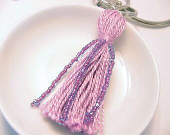 Purple Beaded Tassel Keyring