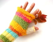 Fingerless gloves, yellow  gloves, winter accessory, women fashion