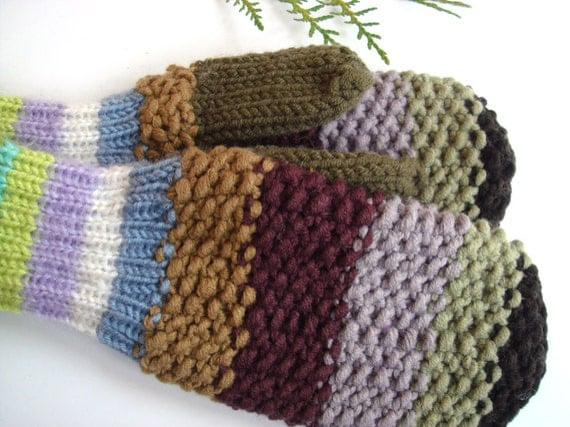 Wool mittens, knit green mittens,  women mittens, winter gloves