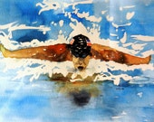 "Art Print Limited Edition-"" Olympic Swimmer"""