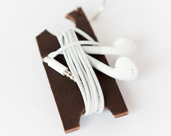 Leather Earbud Holder - Headphone Keychain Holder - Earbud Wrap - Headphone Organizer