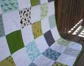 Modern Geometric Patchwork Baby Quilt - Blue and Green