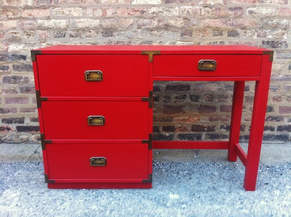 Vintage Campaign Desk In Lipstick Red