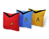 Star Trek Pillow Set- 3 piece set- red, gold,blue fleece pillow set