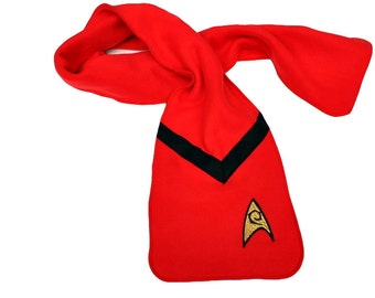 Star Trek Scarf -Red Engineering Fleece Appliqued Badge and Felt