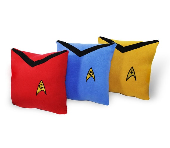 Star Trek Pillow Set- 3 piece set- red, gold,blue fleece pillow set