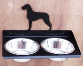 Great Dane Uncropped Natural Ears Wall Mount Metal Art Dog Feeder Powdercoated Steel Stainless Bowls