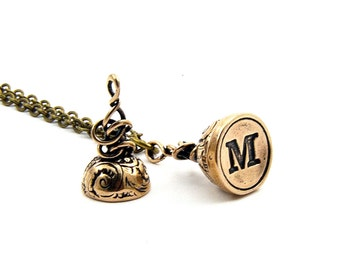 Bronze Wax LETTER M Seal Stamper Necklace by Gwen Delicious Jewelry -