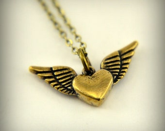 Two for One Sale....Gold Flying Heart Necklace - Winged Heart Charm Pendant