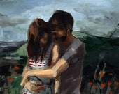 Honeymoon . giclee art print of original couple in love painting