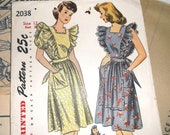 1950s Simplicity Pinafore Pattern 2038 • size 12 . bust 30 • Unused / Factory Folded