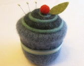 Cupcake Pincushion Felted Wool Upcycled Felted Wool Blue and Turquoise with Ribbon