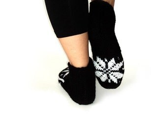 Handknitted, Black and White Slippers, House Slippers, Wool Slippers, Knitt Slippers