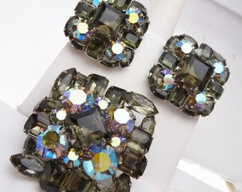 Judy Lee Signed Demi Parure Smokey and Aurora Borealis Rhinestones