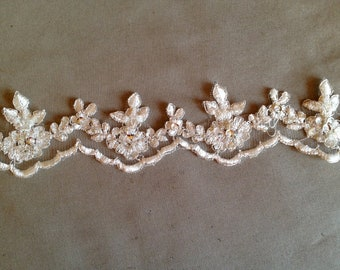"""Alencon trim lace beaded with sequences white or ivory, 2"""" width"""