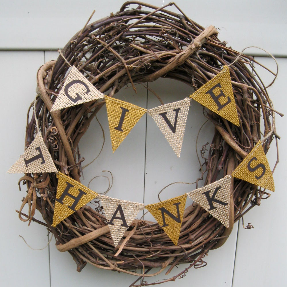 Autumn Banner Brown And Burlap Thanksgiving K093 Rustic