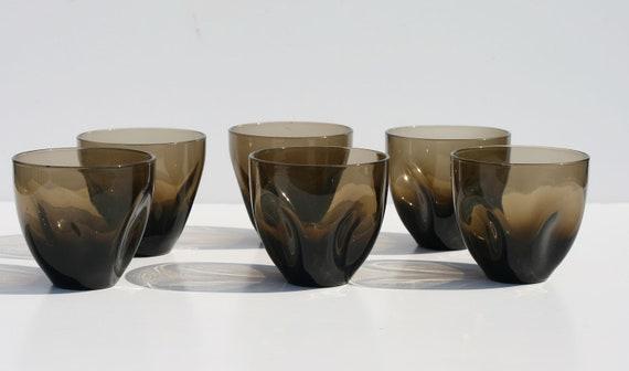 Set of 6 Smoke Mid Century Modern Russel Wright American Iroquois Pinch Juice Glasses