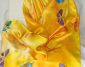 Silk Scarf, Hand Designed, Yellow,Gold, (Butterflies), or Table Runner,Silk Satin,SALE.15x72inches
