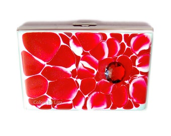 Metal Accordion Wallet Credit Card Organizer Hand Painted Enamel Red and White Chrysanthemum Inspired Custom Colors and Personalized Options