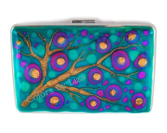 Metal Cigarette Case Hand Painted Enamel Fuchsia and Blue Peacock Blossom Glossy Finish Custom Colors and Personalized Options