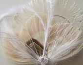 BLUSH Champagne Bridal Peacock and Ostrich Feather Bridal Hair Fascinator Clip with Silver Netting