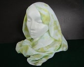 Rayon infinity circle scarf hand dyed in chartreuse