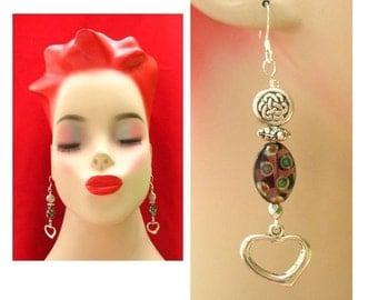 Celtic Knot Art Glass Heart Beaded Earrings Handmade Jewelry Women Accessories