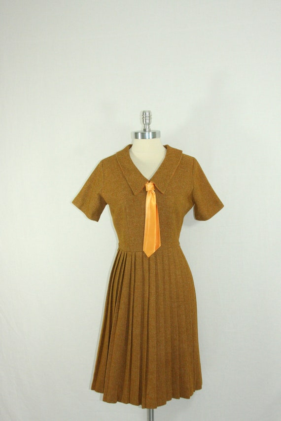 1960's Vintage Dress - Schoolgirl Classic Mustard Tweed with Tie and Pleated Full Skirt