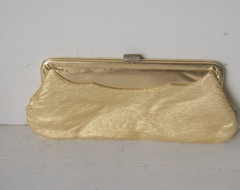 Large Gold Lame Clutch