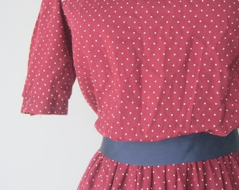Vintage Polka Dot Crimson Day Dress