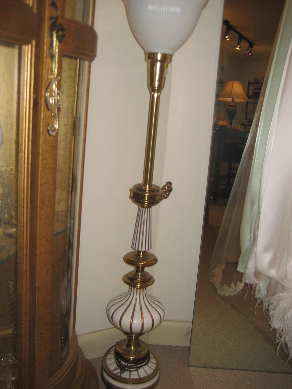 Vintage 60 S Stiffel Lamp White Painted Brass Milk Glass