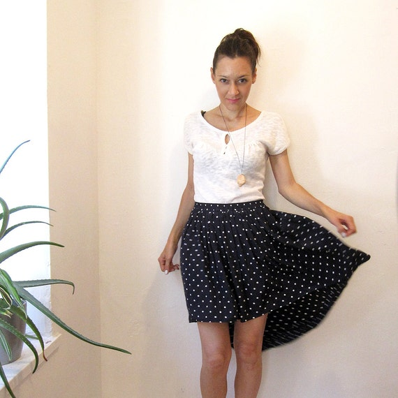 High waist Navy blue pleated polka dot skirt with high low hem - Small / Medium - OOAK Reworked vintage / Simone's Rose Sandbox collection